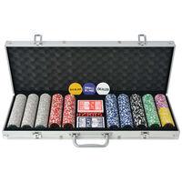 vidaXL Poker Set with 500 Laser Chips Aluminium