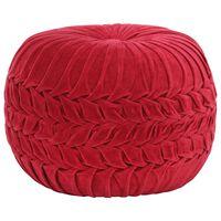 vidaXL Pouffe Cotton Velvet Smock Design 40x30 cm Red
