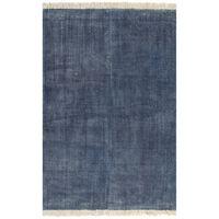 vidaXL Kilim Rug Cotton 200x290 cm Blue
