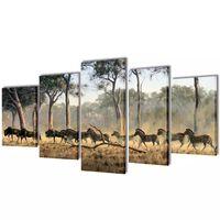 Canvas Wall Print Set Zebras 100 x 50 cm