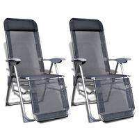 vidaXL Folding Garden Chairs 2 pcs Aluminium and Textilene Grey