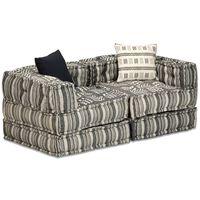 vidaXL 2-Seater Modular Pouffe Grey Stripe Fabric