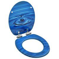 vidaXL WC Toilet Seat with Soft Close Lid MDF Blue Water Drop Design
