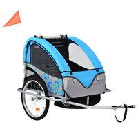 vidaXL 2-in-1 Kids' Bicycle Trailer & Stroller Blue and Grey