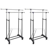 vidaXL Adjustable Clothes Rack with 2 Hanging Rails 2 pcs