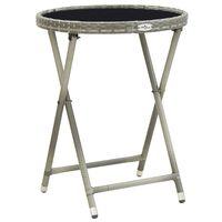 vidaXL Tea Table Grey 60 cm Poly Rattan and Tempered Glass