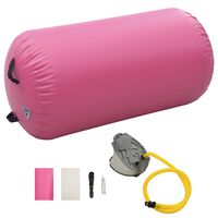 vidaXL Inflatable Gymnastic Roll with Pump 120x75 cm PVC Pink