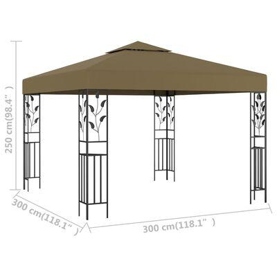vidaXL Gazebo 3x3 m Taupe 180 g/m²