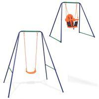 vidaXL 2-in-1 Single Swing and Toddler Swing Orange