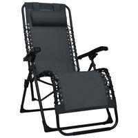 vidaXL Folding Deck Chair Black Textilene