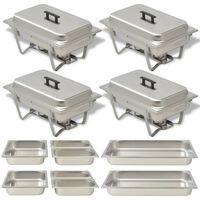 vidaXL 4 Piece Chafing Dish Set Stainless Steel