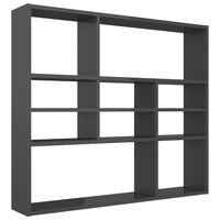 vidaXL Wall Shelf High Gloss Grey 90x16x78 cm Chipboard