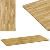 vidaXL Table Top Solid Oak Wood Rectangular 23 mm 140x60 cm