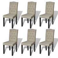 vidaXL Dining Chairs 6 pcs Beige Fabric