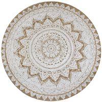 vidaXL Area Rug Braided Jute Printed 150 cm Round
