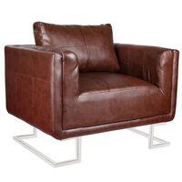 vidaXL Cube Armchair with Chrome Feet Brown Faux Leather
