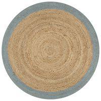 vidaXL Handmade Rug Jute with Olive Green Border 150 cm