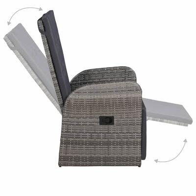 vidaXL Reclining Garden Chair with Cushion Poly Rattan Grey