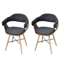 vidaXL Dining Chairs 2 pcs Dark Grey Bent Wood and Fabric