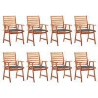 vidaXL Outdoor Dining Chairs 8 pcs with Cushions Solid Acacia Wood