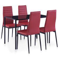 vidaXL Five Piece Dining Set Wine Red