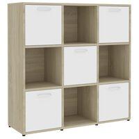 vidaXL Book Cabinet White and Sonoma Oak 90x30x90 cm Chipboard