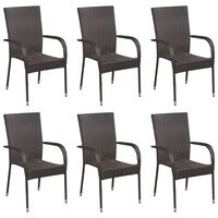 vidaXL Stackable Outdoor Chairs 6 pcs Poly Rattan Brown