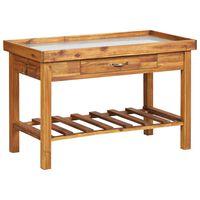 vidaXL Garden Work Bench with Zinc Top Solid Acacia Wood