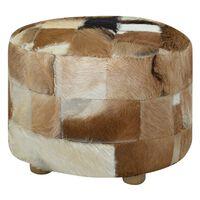 vidaXL Pouffe Genuine Leather Round 50x50x45 cm