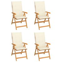 vidaXL Garden Chairs 4 pcs with Cream Cushions Solid Teak Wood