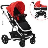 vidaXL 2-in-1 Baby Stroller/Pram Aluminium Red and Black