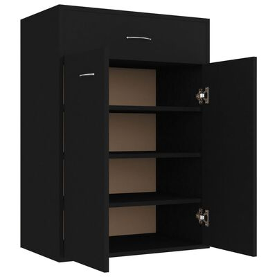 vidaXL Shoe Cabinet Black 60x35x84 cm Chipboard