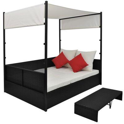 vidaXL Garden Bed with Canopy Black 190x130 cm Poly Rattan