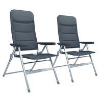 vidaXL Reclining Garden Chairs 2 pcs Aluminium Grey